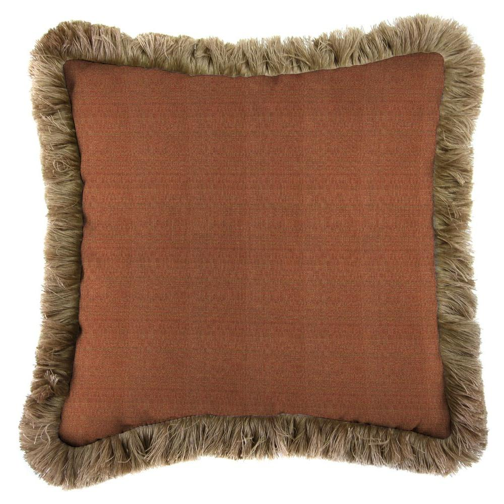 Sunbrella Linen Chili Square Outdoor Throw Pillow with Heather Beige Fringe