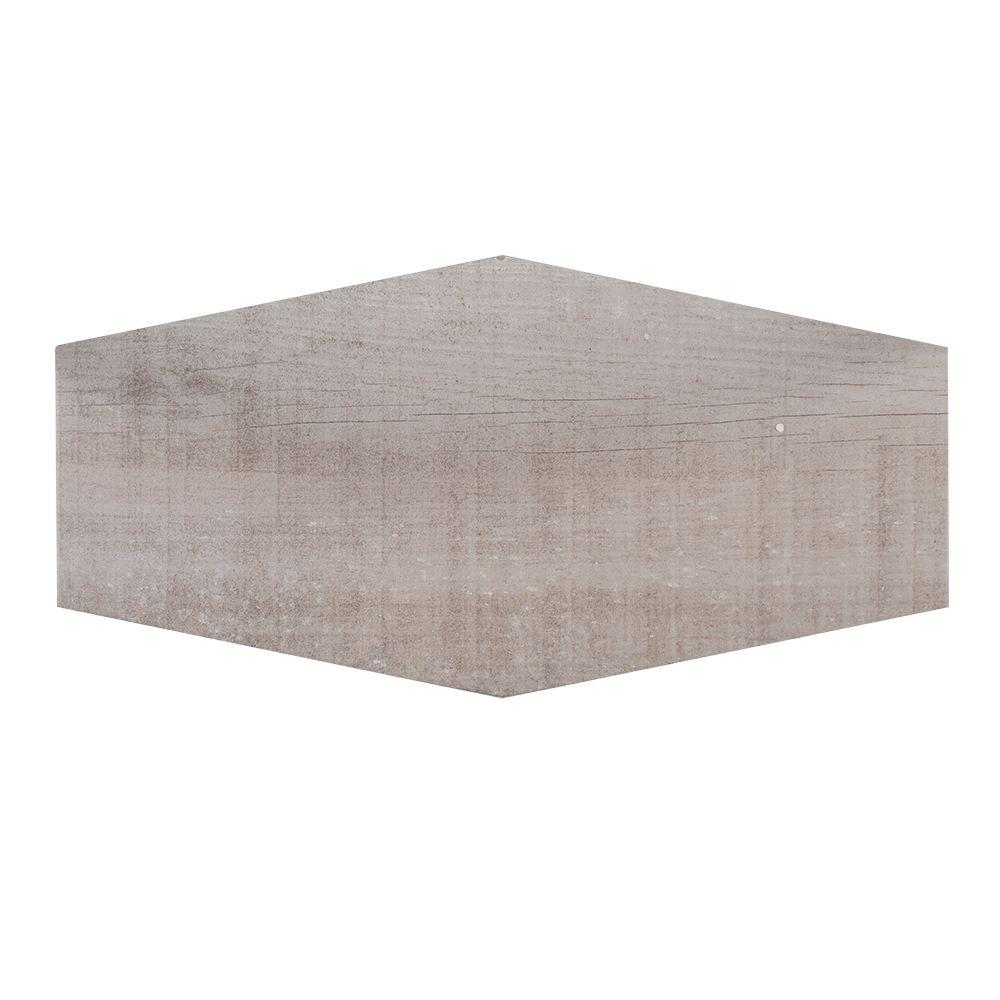 Jeffrey Court Oakwood Lily Taupe 9.5 in. x 19.25 in. Matte Porcelain Hexagon Floor and Wall Tile (1.27 sq. ft.)
