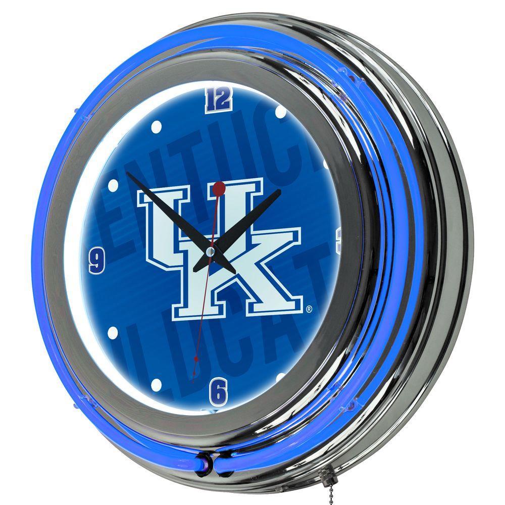 University of Kentucky 14 in. x 14 in. Wordmark Round Neon Wall Clock