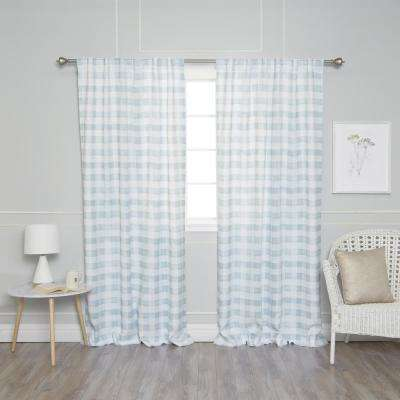 Blue 84 in. L Nordic Watercolor Check Curtain (2-Pack)