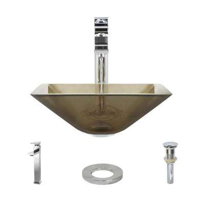 Glass Vessel Sink in Cashmere with R9-7003 Faucet and Pop-Up Drain in Chrome