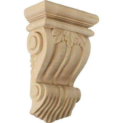 3-1/2 in. x 7 in. x 11 in. Unfinished Wood Lindenwood Traditional Leaf Corbel