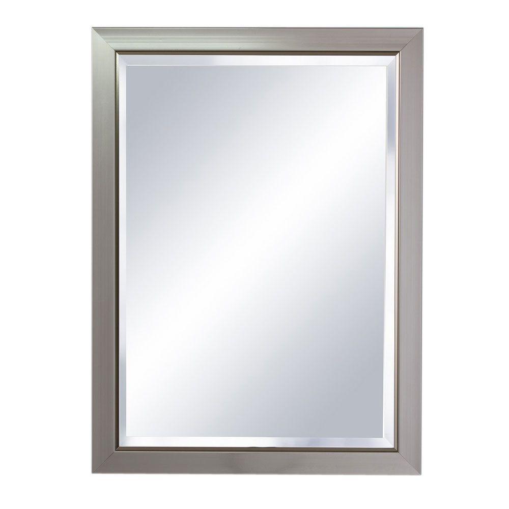 Single Framed Wall Mount Mirror In Brush Nickel