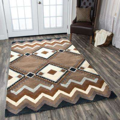 Tumble Weed Loft Brown Southwestern Hand Tufted Wool 8 ft. x 10 ft. Area Rug