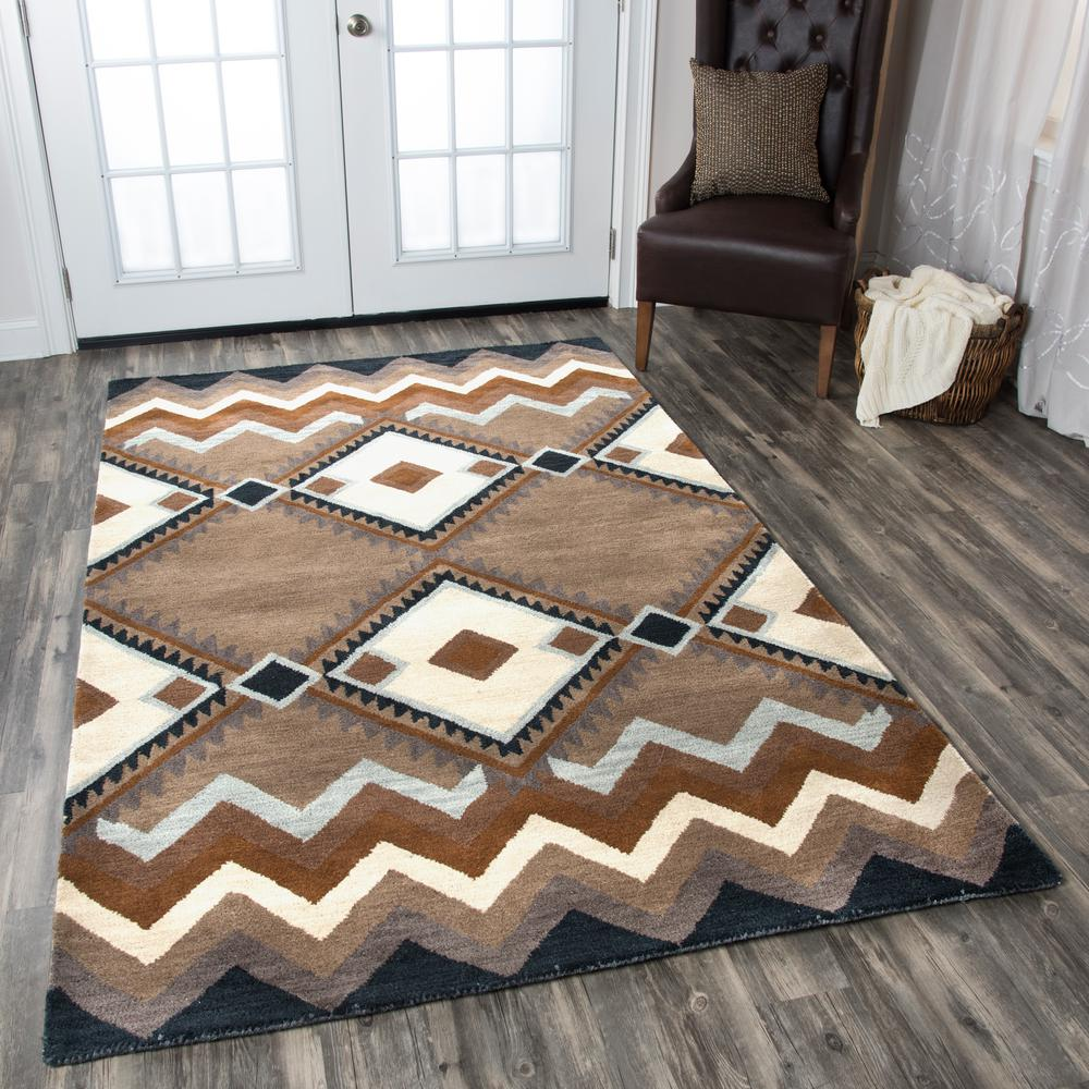 Rizzy Home Tumble Weed Loft Brown Southwestern Hand Tufted