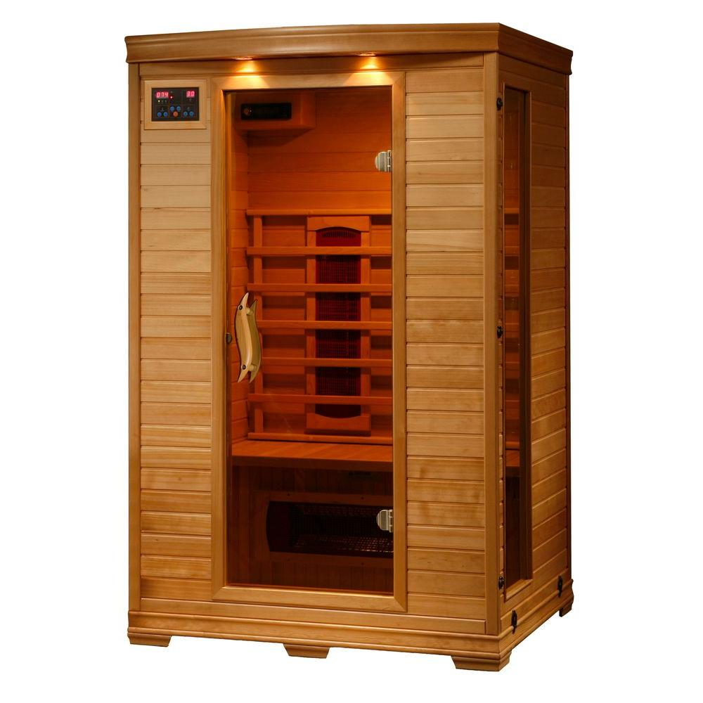radiant sauna 2 person hemlock infrared sauna with 5 ceramic heaters bsa2406 the home depot. Black Bedroom Furniture Sets. Home Design Ideas