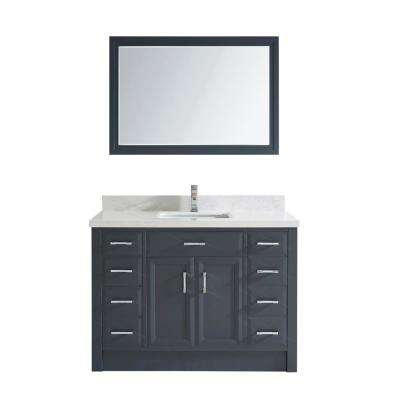 Calais 48 in. W x 22 in. D Vanity in Pepper Gray with Solid Surface Vanity Top in White with White Basin and Mirror