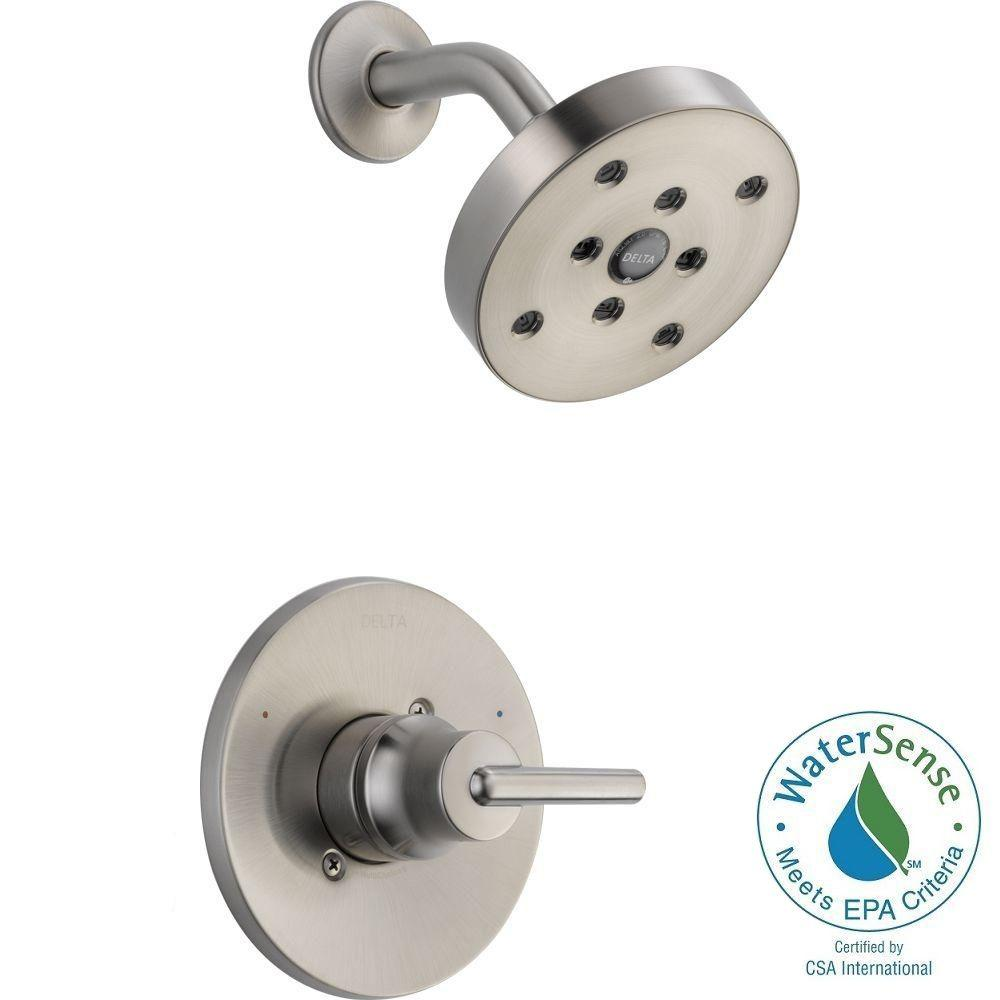 Delta Trinsic 1-Handle Wall Mount Shower Faucet Trim Kit in Stainless with H2Okinetic (Valve Not Included)