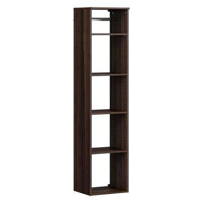 Style+ 14.59 in. D x 16.97 in. W x 71.6 in. H Modern Walnut Wood Closet System Hanging Tower