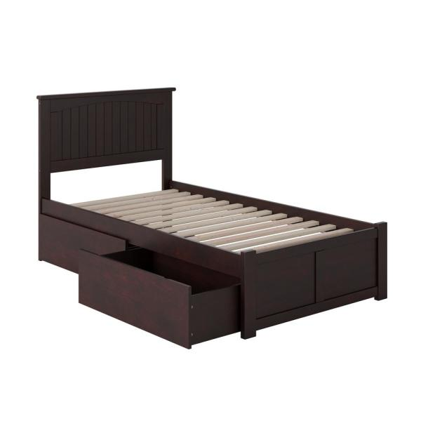 Nantucket Twin Platform Bed with Flat Panel Foot Board and 2 Urban Bed Drawers in Espresso
