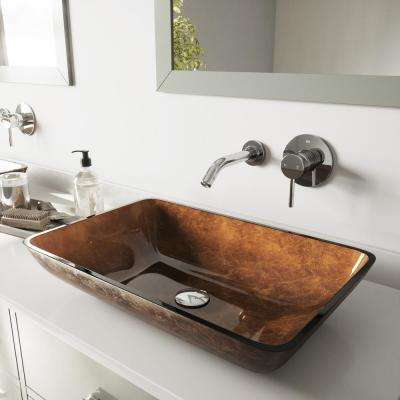 Rectangular Glass Vessel Bathroom Sink in Russet with Wall-Mount Faucet Set in Chrome