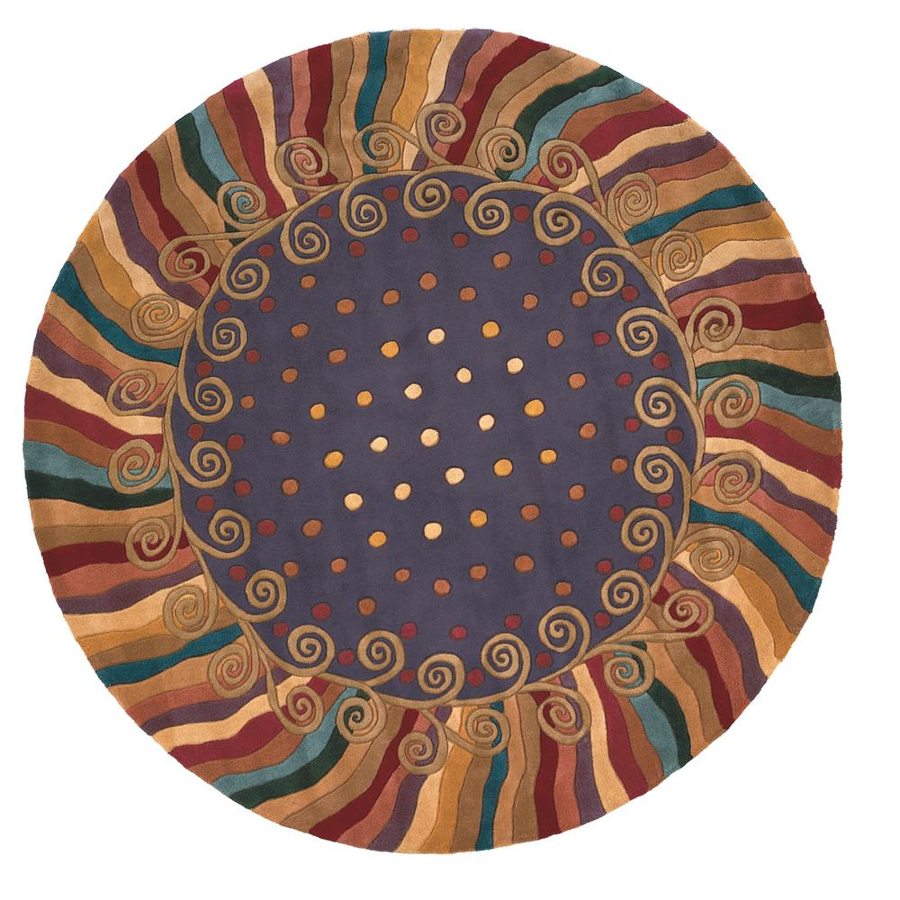 Momeni New Wave Contemporary Purple 8 Ft X 8 Ft Round Area Rug
