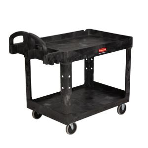 Rubbermaid Commercial Products Heavy Duty Black 2-Shelf Utility Cart with Lipped Shelf in Medium by Rubbermaid Commercial Products