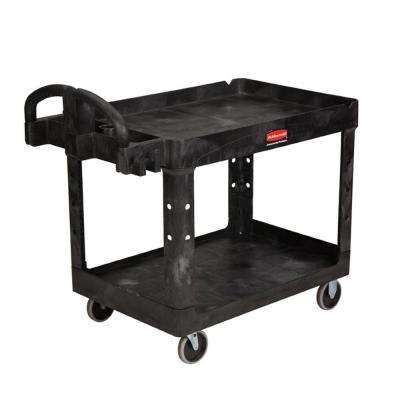 Heavy Duty Black 2-Shelf Utility Cart with Lipped Shelf in Medium