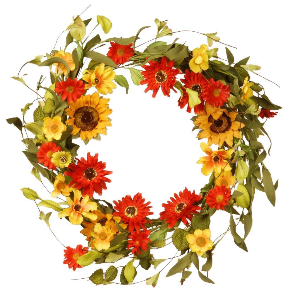 20 in. Sunflowers and Orange/Yellow Mixed Flowers Floral Wreath Decor