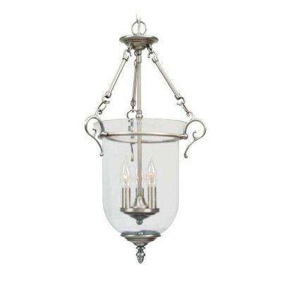 Providence 3-Light Brushed Nickel with Clear Glass Pendant