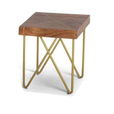 Walter End Table Mango Wood Top with Brass Inlay and Base