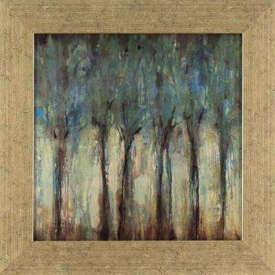 15.5 in. x 15.5 in. Teal Trees Landscape Printed Framed Wall Art