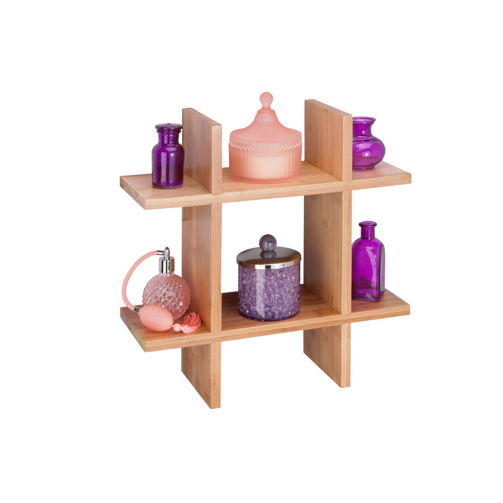 Bamboo Wall Shelf Decorative Grid-Shaped Organizer Mounting Hardware ...