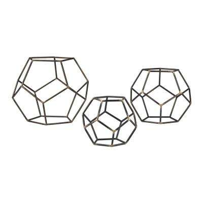 10 in. x 8 in. x 6 in. Gray Iron with Gold Highlight Decorative Geometric Orbs (Set of 3)