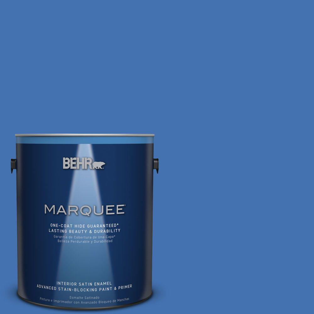 1 gal. #HDC-SM16-07 Croquet Blue Satin Enamel Interior Paint