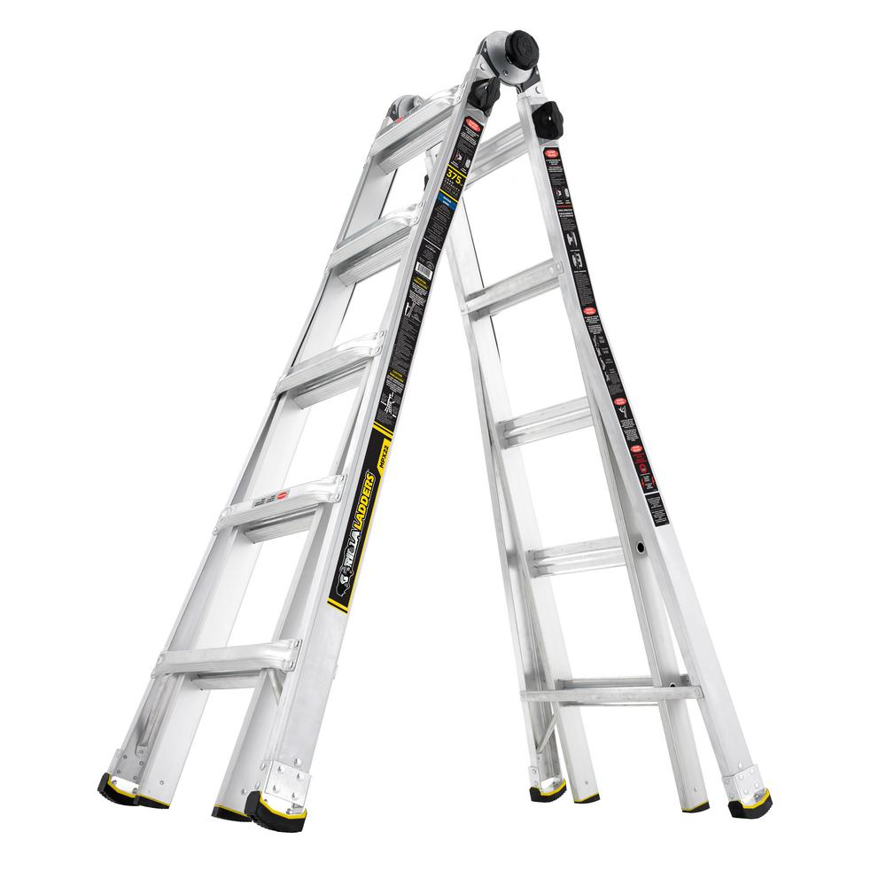 Gorilla Ladders 22 ft. Reach MPX Aluminum Multi-Position Ladder with 375 lb. Load Capacity Type IAA Duty Rating