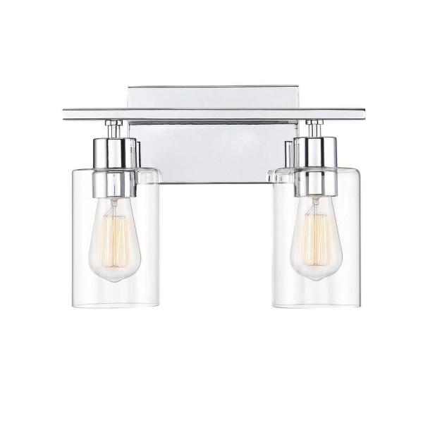 2-Light Polished Chrome Bath Vanity Light with Clear Glass