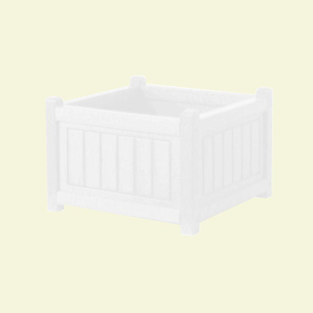 Eagle One Nantucket 17 in. x 17 in. White Recycled Plastic Commercial Grade Planter Box