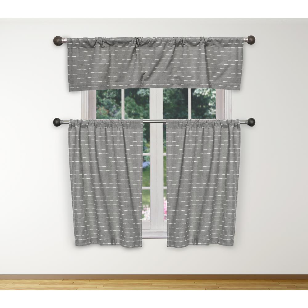Tate Kitchen Valance in Grey-White - 15 in. W x 58 in. L (3-Piece)