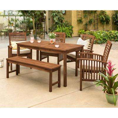 Dark Brown 6-Piece Wood Conversational Patio Set with Cream Cushions