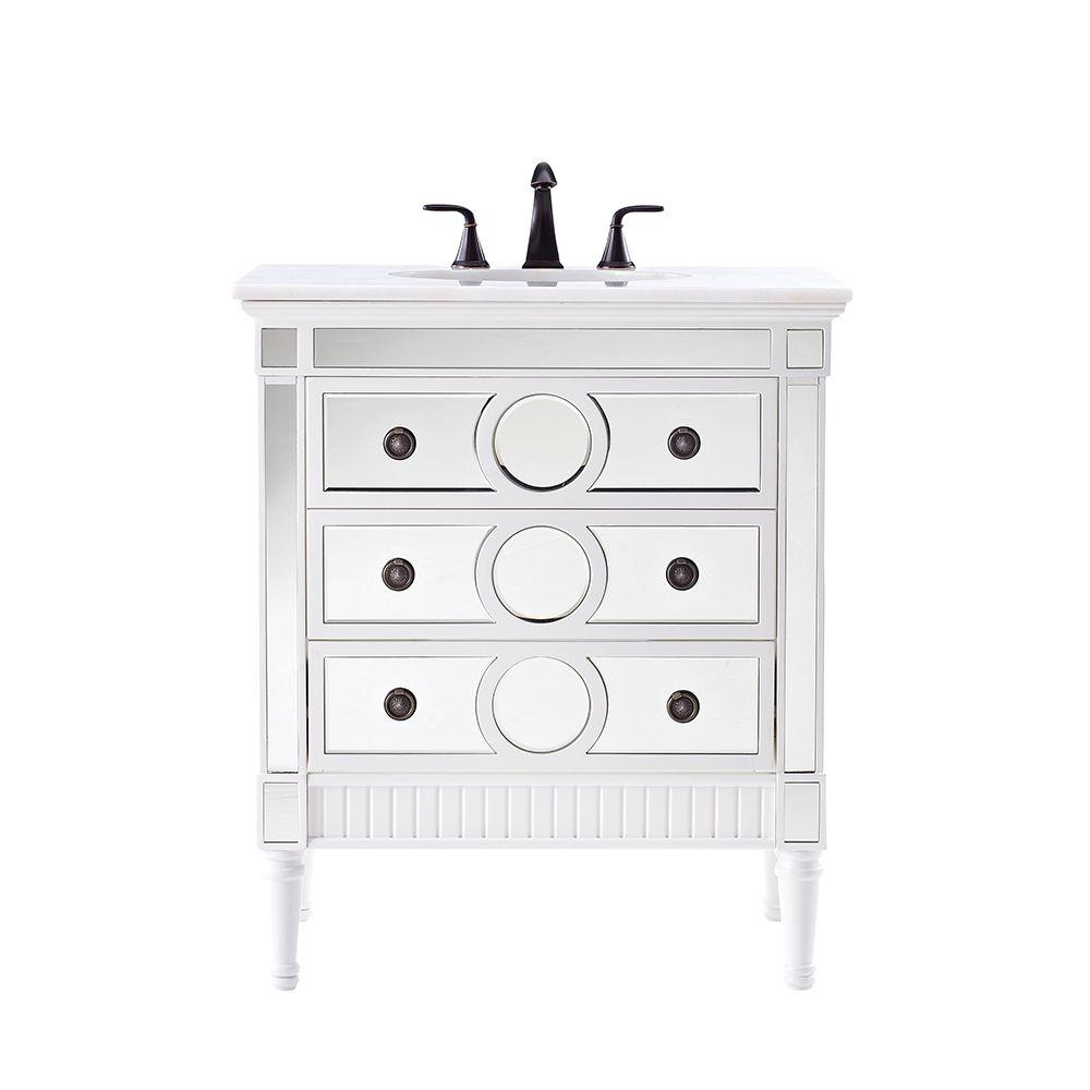 Home Decorators Collection Reflections 32 in. Empire Single Vanity in White with Natural Marble Vanity Top in White