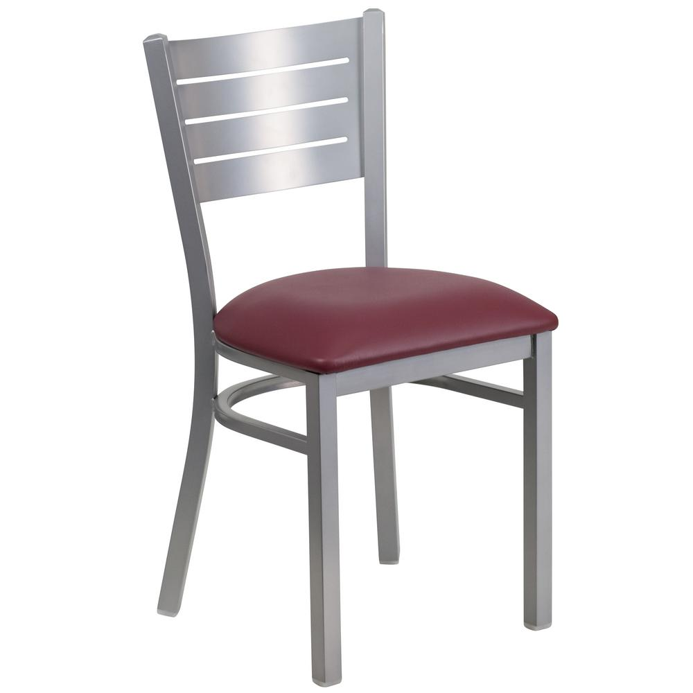 Captivating Flash Furniture Hercules Series Silver Slat Back Metal Restaurant Chair    Burgundy Vinyl Seat