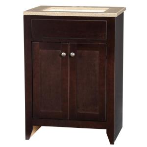 Elegant Glacier Bay Modular 24.5 In. W Bath Vanity In Java With Solid Surface Vanity  Top In Cappuccino With White Basin PPDEC24 JVM   The Home Depot