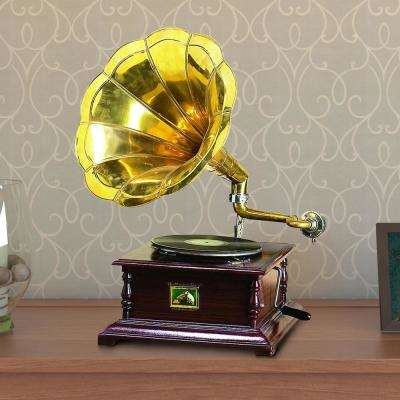 Horn Gramophone with Wooden Box Gold and Brown Decorative Metal Figuirne