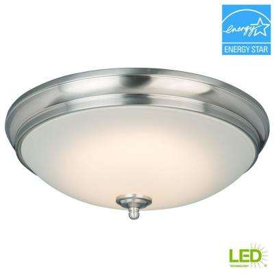 13 in. 60-Watt Equivalent Brushed Nickel Integrated LED Flush Mount with White Glass Shade