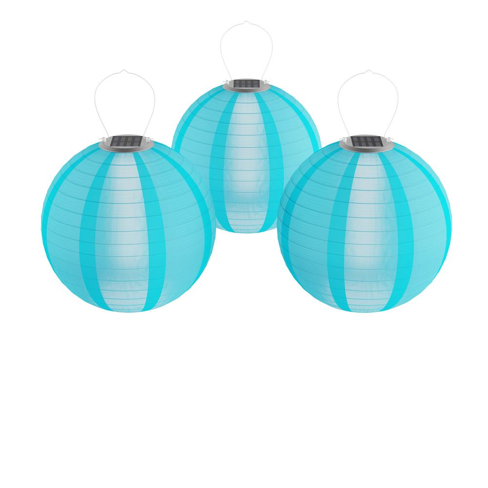 Blue Integrated Led Hanging Solar Chinese Lanterns 3 Pack