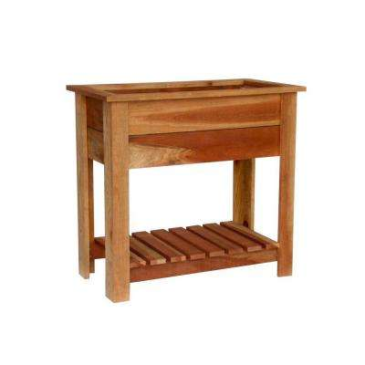 36 in. x 19-1/2 in. x 33-1/2 in. Redwood Raised Planter with Shelf
