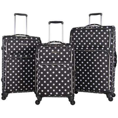 Albany Park - Lightweight Softside Black/White Polka Dot 3-Piece 20 in./24 in./28 in. 4-Wheel Expandable Luggage Set