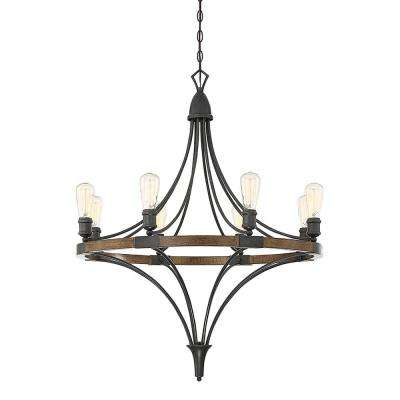8-Light Whiskey Wood Chandelier