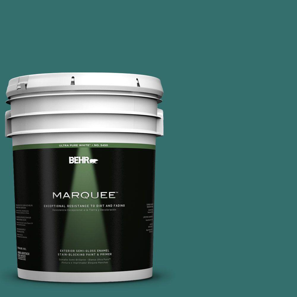 BEHR MARQUEE 5-gal. #500D-7 Caribbean Green Semi-Gloss Enamel Exterior Paint