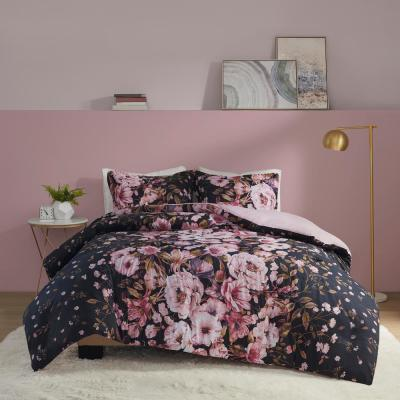 Annabelle 3-Piece Black Full/Queen Floral Printed Duvet Cover Set