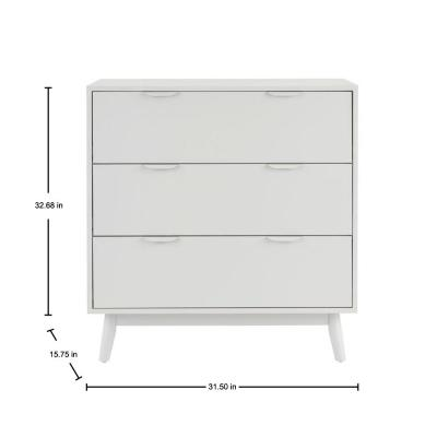 Amerlin Shadow Gray Wood 3 Drawer Chest of Drawers (31.5 in W. X 32.68 in H.)