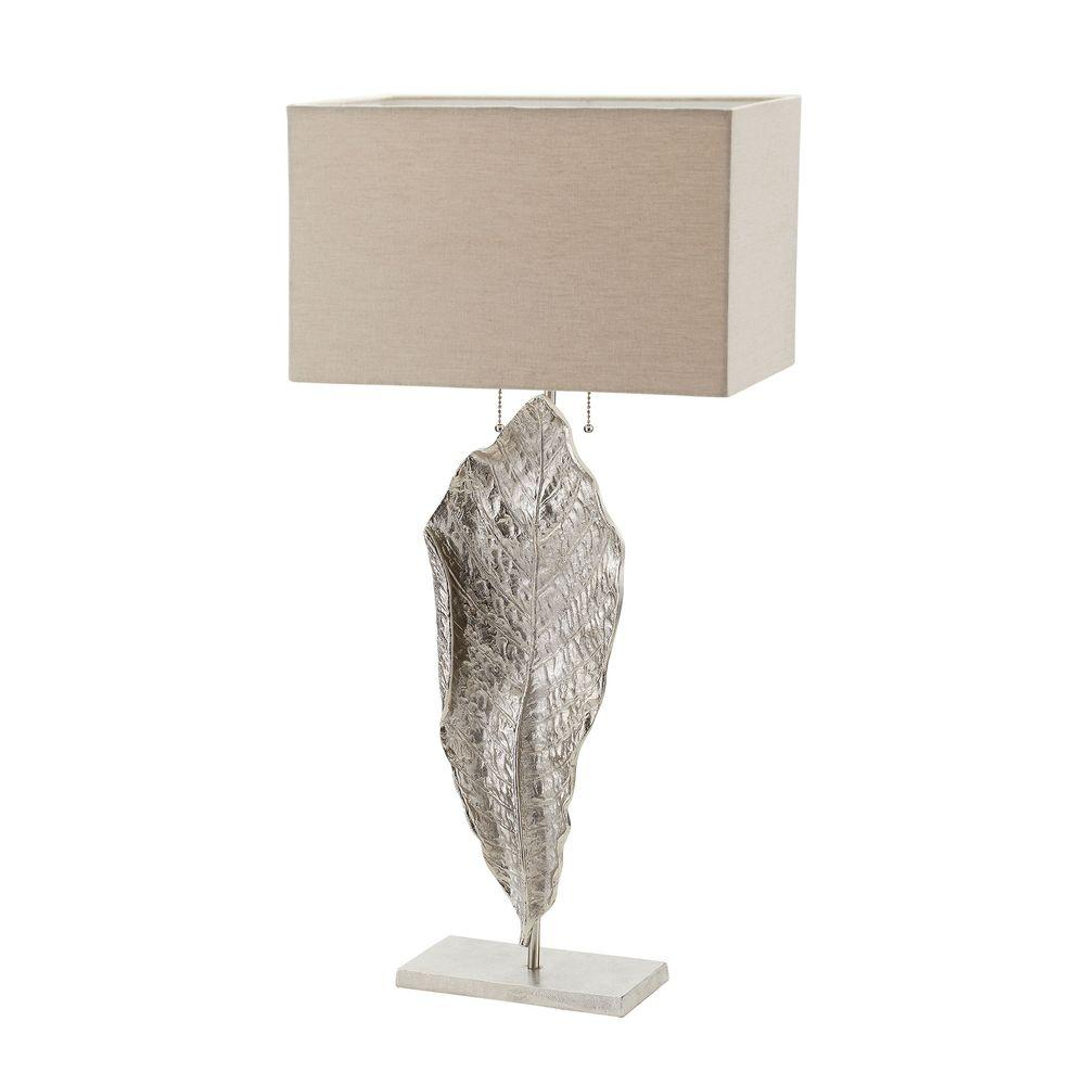 Nickel Tall Table Lamp With Natural Linen Shade