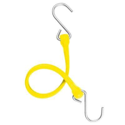 13 in. EZ-Stretch Polyurethane Bungee Strap with Stainless Steel S-Hooks (Overall Length: 18 in.) in Yellow