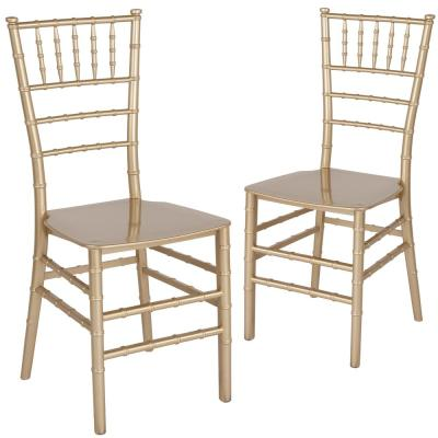 Gold Flat Seat Resin Chiavari Chairs (Set of 2)