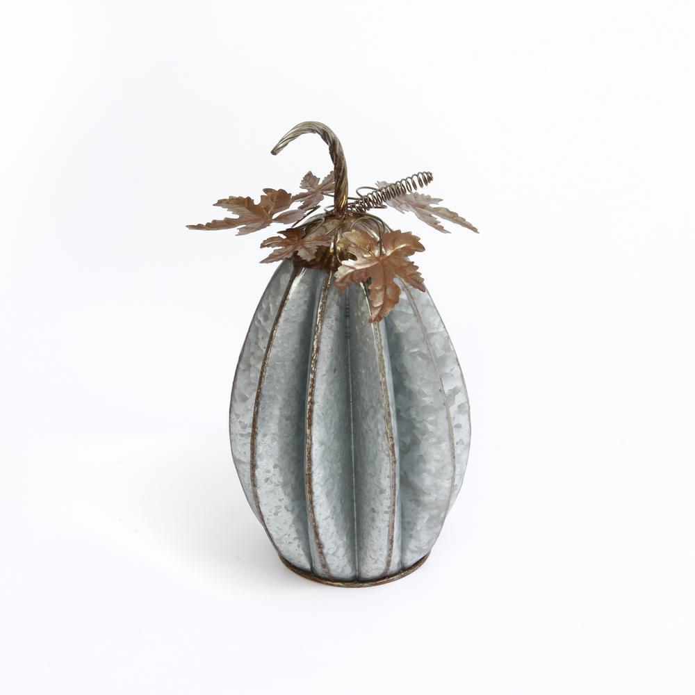 16.5 in. H Sculpted Rustic Metal Pumpkin with Leaves (Set of 2)