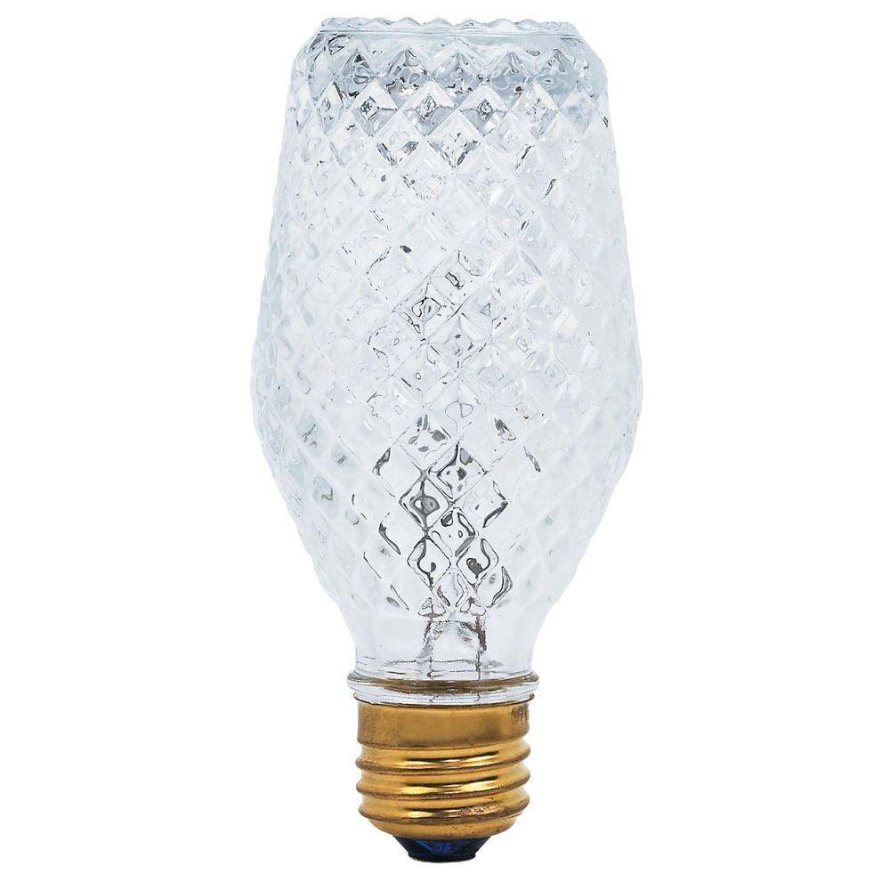 Globe Electric 50-Watt Halogen MB19 Handcrafted Crystallina Clear Medium Base Decorative Light Bulb (3-Pack)
