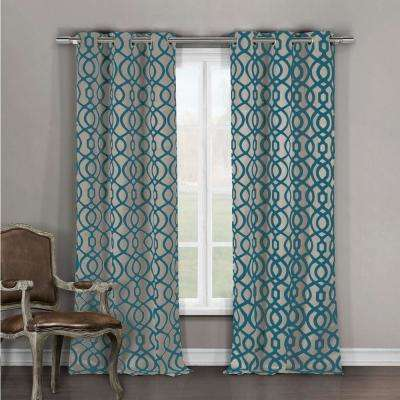 Blackout Harris 84 in. L Grommet Panel in Teal-Taupe (2-Pack)