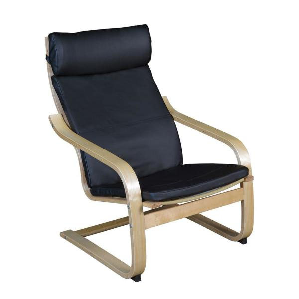 Baha Natural/Black Leather Bentwood Reclining Chair