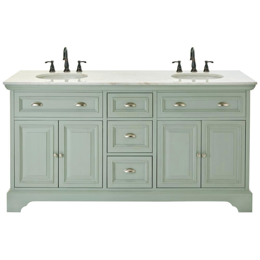 Home Decorators Collection Sadie 67 in. W Double Bath Vanity in Antique Light Cyan with Natural Marble Vanity Top in White